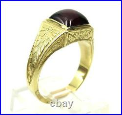 Antique 1.50ct Sugarloaf Cut Garnet 18K Yellow Gold Hand Carved Ring Size 6