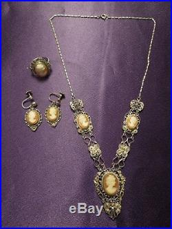 Antique 800 Fine European Silver Hand Carved Cameo Necklace, Earrings and Ring