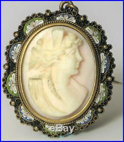 Antique 800 Silver Carved Pink Angel Skin Coral Cameo Micro Mosaic Inlay Brooch