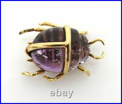 Antique 9.0ct Hand Carved Amethyst & 18K Yellow Gold Scarab Beetle Pin
