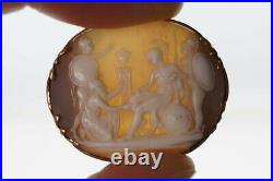 Antique 9k Gold Finely Carved Shell Priam & Achilles Hector Cameo Brooch