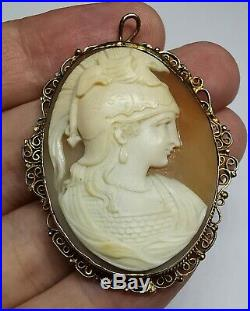 Antique Amazing Finely Carved Shell Cameo (Gold Filled / Plated) Brooch INTACT