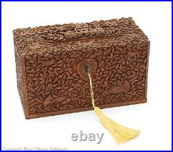 Antique Anglo-Indian Finely Carved Sandalwood Stationery / Letter Box c1880