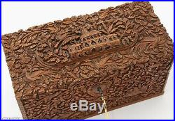 Antique Anglo-Indian Finely Carved Sandalwood Stationery / Letters Box c1880