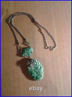 Antique Art Deco Carved Jade Sterling Silver Necklace