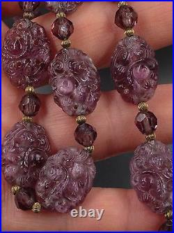 Antique Art Deco Chinese Export Carved Amethyst Necklace Choker Gold-Fill Chain