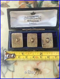 Antique Art Deco Fine Set (3) Finely Carved Cinnabar Silver Gilt Buttons