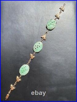Antique Art Nouveau Carved Jadeite Jade 14k Gold Bracelet