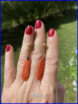 Antique Art Nouveau Carved Red Coral 10k Gold Screw Clip Earrings 2