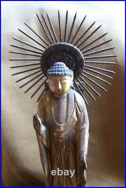 Antique Asian Buddha -fine- carved from wood-with sun ray halo aura-13with base