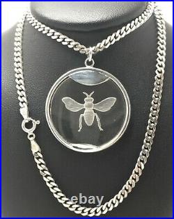 Antique Bee Insect STERLING SILVER Necklace 18 Reverse Carved Intaglio 22.6g