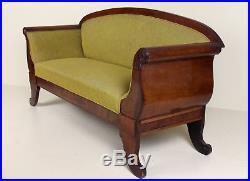 Antique Biedermeier Sofa Carved Mahogany 19th Century Fine Quality