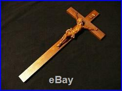 Antique Black Forest 1930 Fine Carved Wood Wall Crucifix Cross Corpus