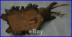 Antique Black Forest Fine Carved Wood Dear Head W. Glass Eyes