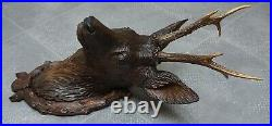Antique Black Forest Fine Carved Wood Roe Deer Head
