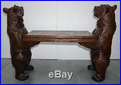 Antique Black Forest Very Fine Carved Musical Bear Bench