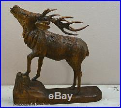 Antique Black Forrest Wooden Carved Rutting Deer Stag very fine & excellent work