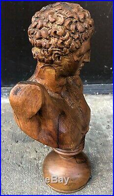 Antique Bust of Apollo A Finely Carved Neoclassical Sculpture in Olive Wood