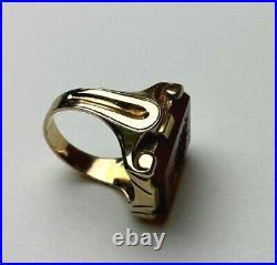 Antique Carved Carnelian Intaglio Mens Ring