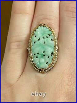 Antique Carved Jade/Jadeite & Seed Pearl 14kt Yellow Gold Ring