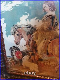 Antique Carved Macassa Wood Tapestry Firescreen Horse screen 1840's fine rare