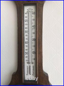 Antique Carved Oak Aneroid Banjo Barometer & Thermometer All Working Fine