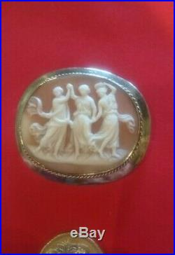 Antique Carved Three Graces Cameo Brooch, fine detail, decorative silver frame