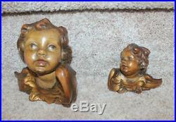 Antique Carved Wooden Italian  Large Angel Cherub Head 6.25 Fine Quality