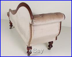 Antique Chaise Longue Sofa Carved Mahogany Victorian Fine Quality