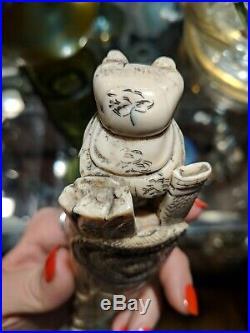 Antique Chinese Carved Bovine Bone Fine Hua Mu Lin Warrior Guan Yin 19th C