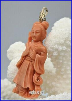 Antique Chinese Carved Natural Red Salmon Coral Lady Pendant with10k YG Leaf Bale