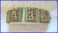 Antique Chinese Export Bronze Carved Fine Filigree Bracelet