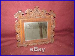 Antique Chinese Export Carved Wood Mirror Picture Frame