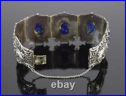 Antique Chinese Export Silver Bracelet w Carved Lapis Lazuli Panels Rabbits