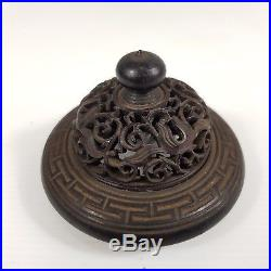 Antique Chinese Finely Carved Hard Wood Lid / Cover 4.7cm Inner Diameter