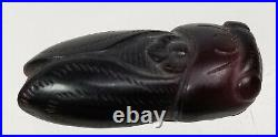 Antique Chinese Finely Carved Peking Glass Snuff Bottle Cicada Form