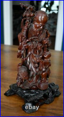 Antique Chinese Finely Carved Rosewood God Of Longevity On Ebonized Wood Stand