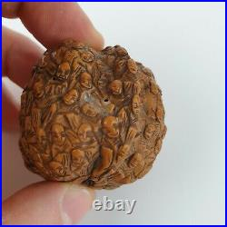 Antique Chinese Finely Carved Walnut Thousand Faces