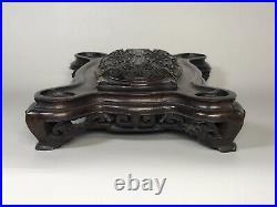 Antique Chinese Huanghual/Zitan Wood Fine Carving Stand Base for Incense Burner