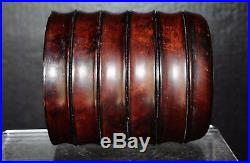 Antique Chinese Huanghuali tea jar fine carved bamboo shape w. Lid inlay ser
