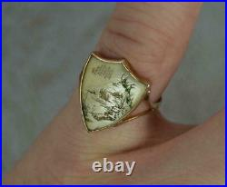 Antique Chinese Japanese Fine Carved Miniature Art Painting Gold Ring Asian