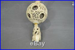 Antique Chinese Puzzle Ball finely carved bovine bone figures rare C18th-C19