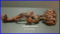 Antique Chinese Ruji scepter boxwood finely carved art 19cm bamboo cicada China