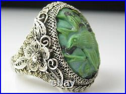 Antique Chinese Silver Export Ring Carved Turquoise Bird Size 7 Fine Jewelry