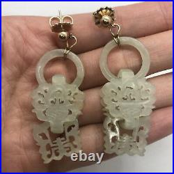 Antique Chinese carved Devil's work nephrite jade earrings 14k yellow gold pale