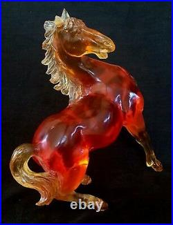 Antique Chinese finely carved amber color acrylic Horse statue 9 inches, 1930's