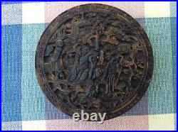 Antique Chinese finely carved circular Tortoiseshell Snuff or Tobacco Box