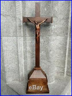 Antique Church Altar Standing Cross Crucifix Fine Hand Carved Jesus Corpus