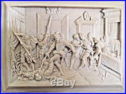 Antique Continental Finely Hand Carved Alabaster Bas Relief Plaque