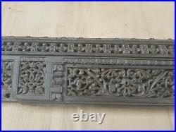 Antique Deep Hand Carved Wooden Fine Floral Design Old Wall Door Panel NH5473